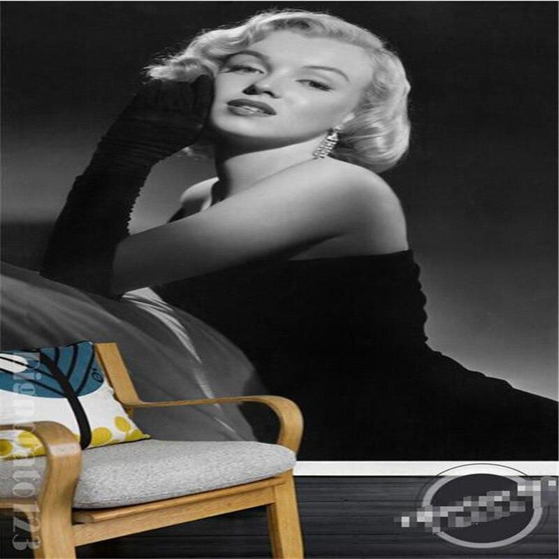 Mural Wallpaper For Living Room Black White Simple Marilyn