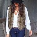 Plus Size Moda de Nova Ladies Falso Colete De Pele Curto Colete De Pele de Mulheres Jaqueta Casaco Sem Mangas pescoço V Slim Gilet Outwear