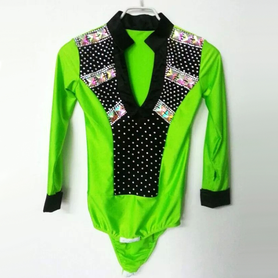 sexy Tango Men/boy Latin Dance Top Green/white/rose Male Ballroom Shirt Spandex&bright Drill Clothing For Dancing ...