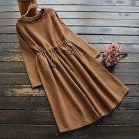literary Solid color drawstring Hooded knitting dress winter dress mori girl