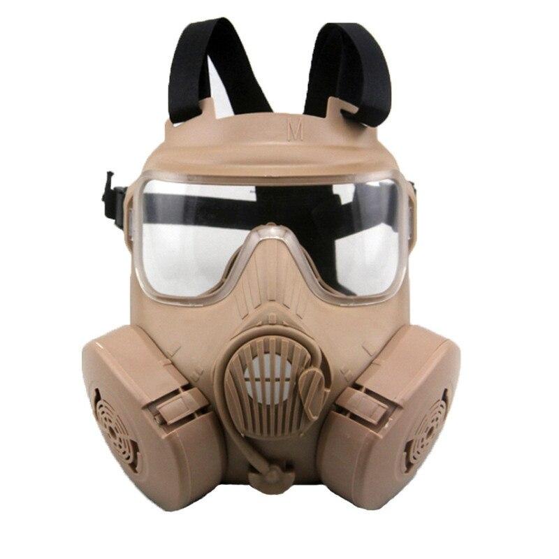 DC15 tactique militaire Airsoft Paintball crâne protecteur M50 visage complet masque à gaz avec ventilateur Tan CS Wargame Cosplay