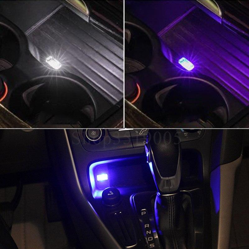 Car Styling Cup Holder Storage Box Light USB Decorative