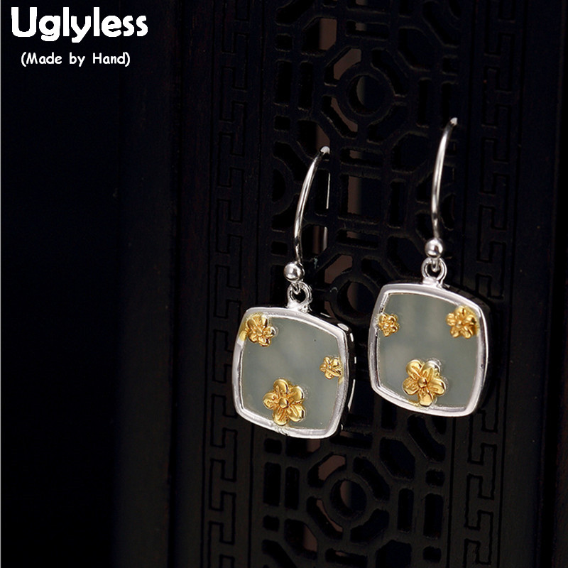 все цены на Uglyless S 925 Sterling Silver Square Dangle Earrings Handmade Engraved Flower Earrings Natural White Jade Women Ethnic Jewelry