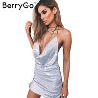 BerryGo Блестками спинки глубокий v шея sexy dress Женщины рождество рукавов party club dress Сплит цепи короткое dress vestidos