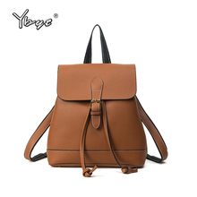 YBYT brand 2018 new vintage casual women PU leather teenagers preppy style rucksack female shopping bags ladies travel backpacks