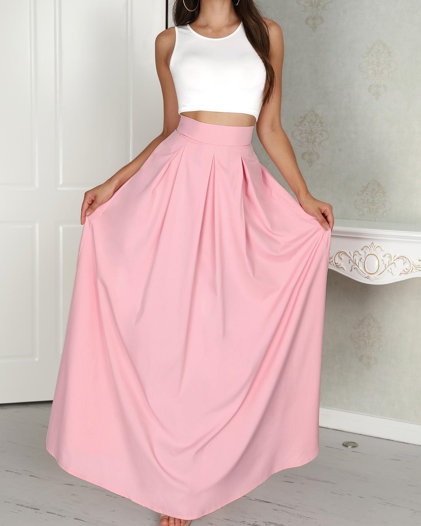 Women Two-Piece Suit Set Female Sleeveless Cropped Top /& Pleated Maxi Skirt Sets