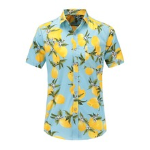Jeetoo Summer Hawaiian Short Sleeve Shirt Men Cotton Flamingos Floral Printed Casual Dress Shirts Men Clothes 2019 Fashion 3XL