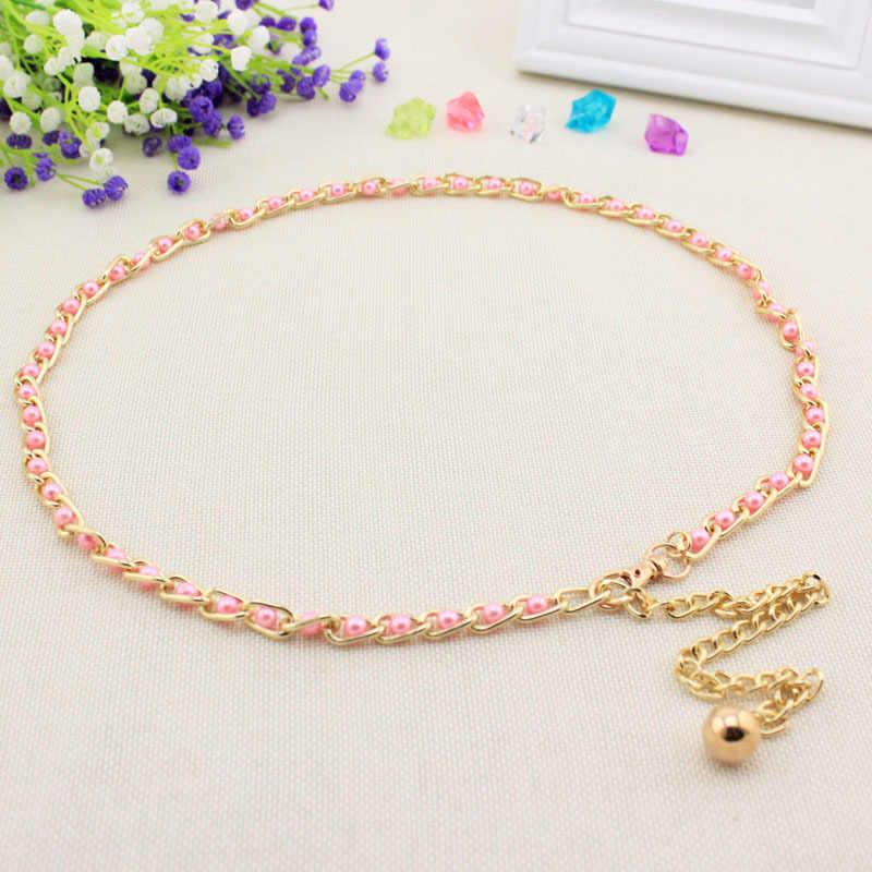 Mode Sweety Perle Perle Frauen Kleid Gürtel Dame Winter Pullover Dekoration Taille Gürtel Gold Ketten Gürtel Böhmen Perle Körper Kette