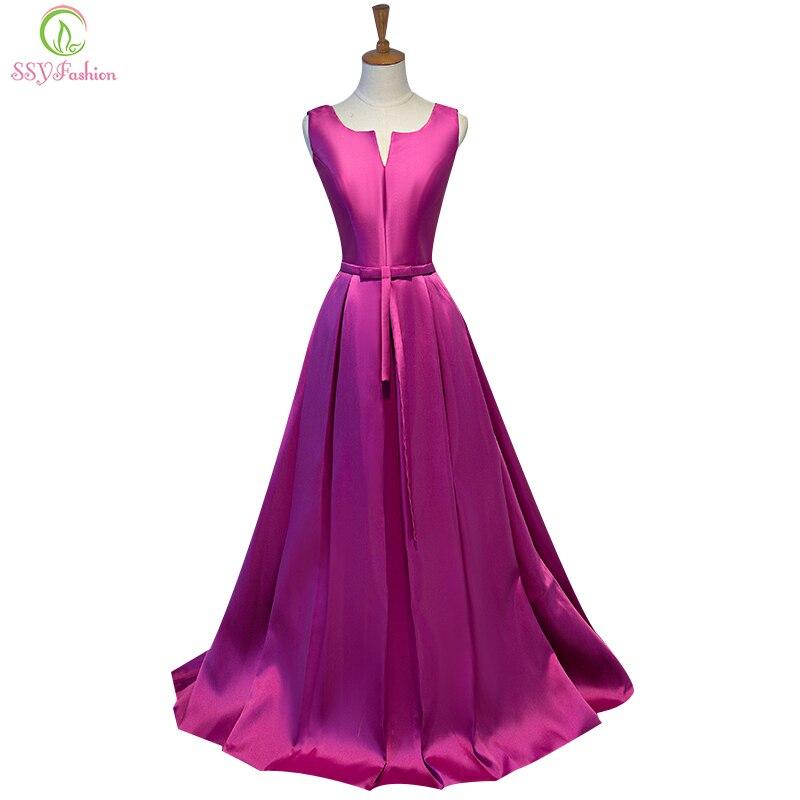 SSYFashion Simple Thick Satin Sleeveless Floor length Long Evening Dress Bridal Banquet Formal Dresses Custom Made