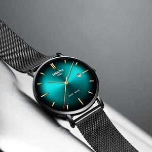 Image 4 - NIBOSI 男性トップの高級超薄型日付時計男性ブルースチールメッシュストラップビジネス · スポーツクォーツ腕時計男性時計