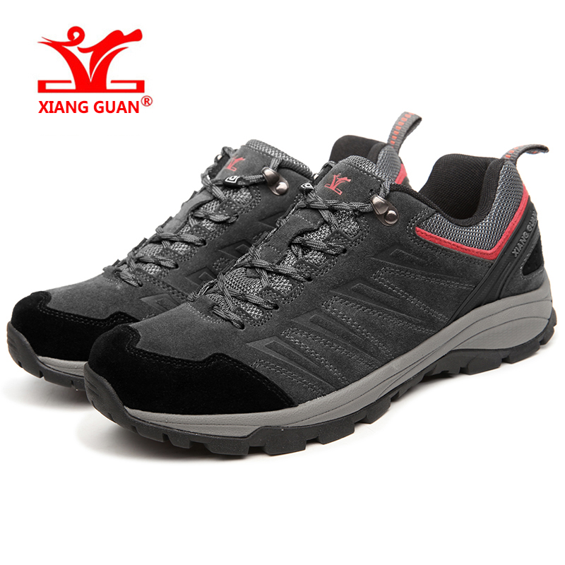 XIANGGUAN Hiking Shoes Man Waterproof Breathable Gray Mountain Climbing Outdoor Shoes Nylon leather Trekking Sneakers 92628