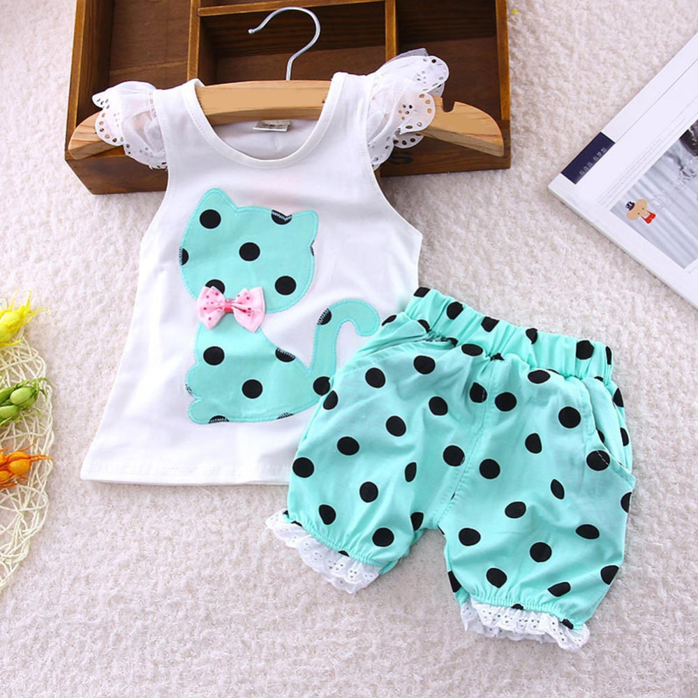 2018 Summer Children Set Baby Girls Clothing Lace Sleeve Bow Cat Tshirt+Shorts Suit 2pcs Kids Polka Dot Clothes Suit
