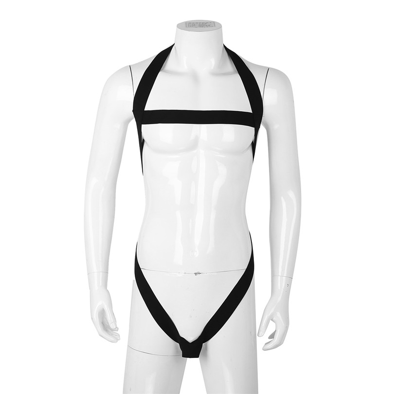 iEFiEL Mens Male Lingerie Halter Hollow Out Elastic Strap Bodysuit Harness with Penis O-ring Body Chest Harness Bondage Costumes