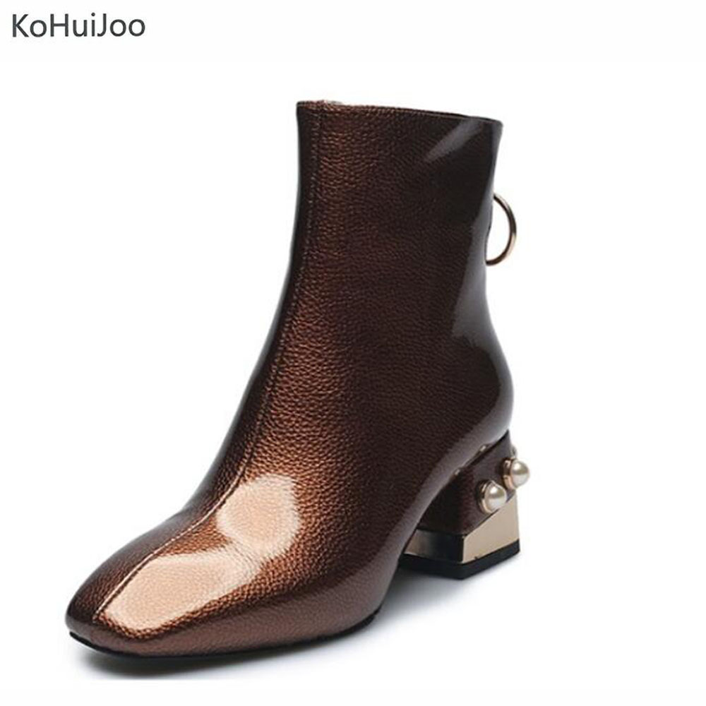 KoHuiJoo 2018 Autumn Winter Patent Leather Boots Women Black Green Brown Square Toe Fashoion pearlsBeading Ankle Boots pearls 43