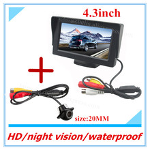 Freeshipping 4.3inch TFT LCD auto dispaly Car Rear View Monitor Rearview Backup Monitors DC 12V 2 Video Input for Reverse Camera