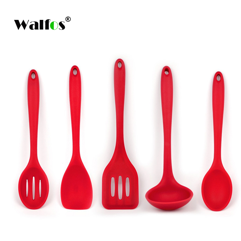 Walfos Cooking Spatula Turner Spoonula Mixing Spoon Slotted Spoon Ladle 5Pcs Kitchen Silicone Cooking Tools Kitchen Utensil Set