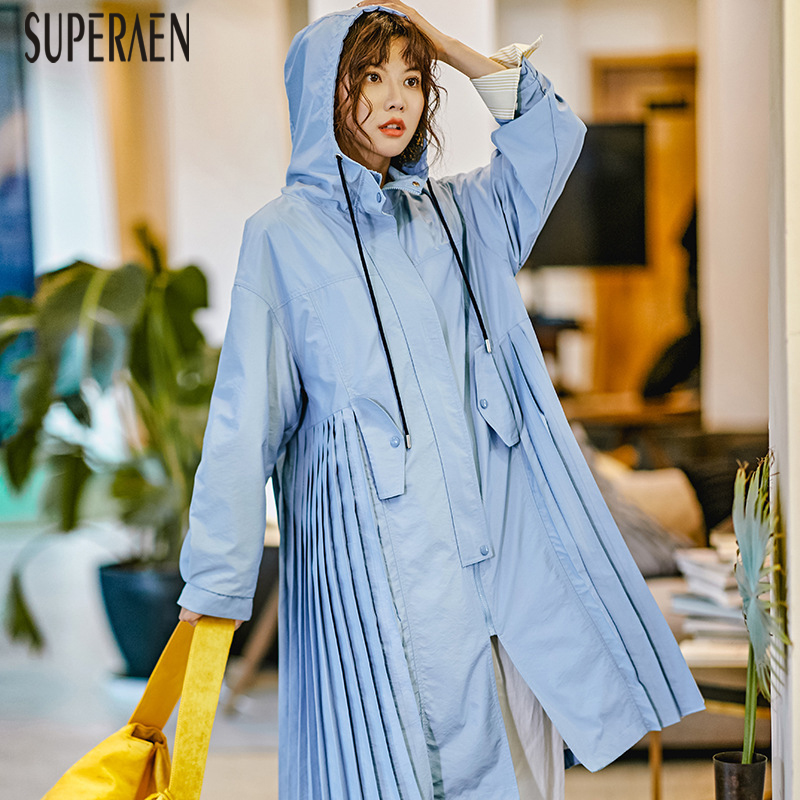 SuperAen Solid Color Hooded Windbreaker Female Spring 2019 New Europe Wild   Trench   Coat for Women Casual Fashion Women Clothing
