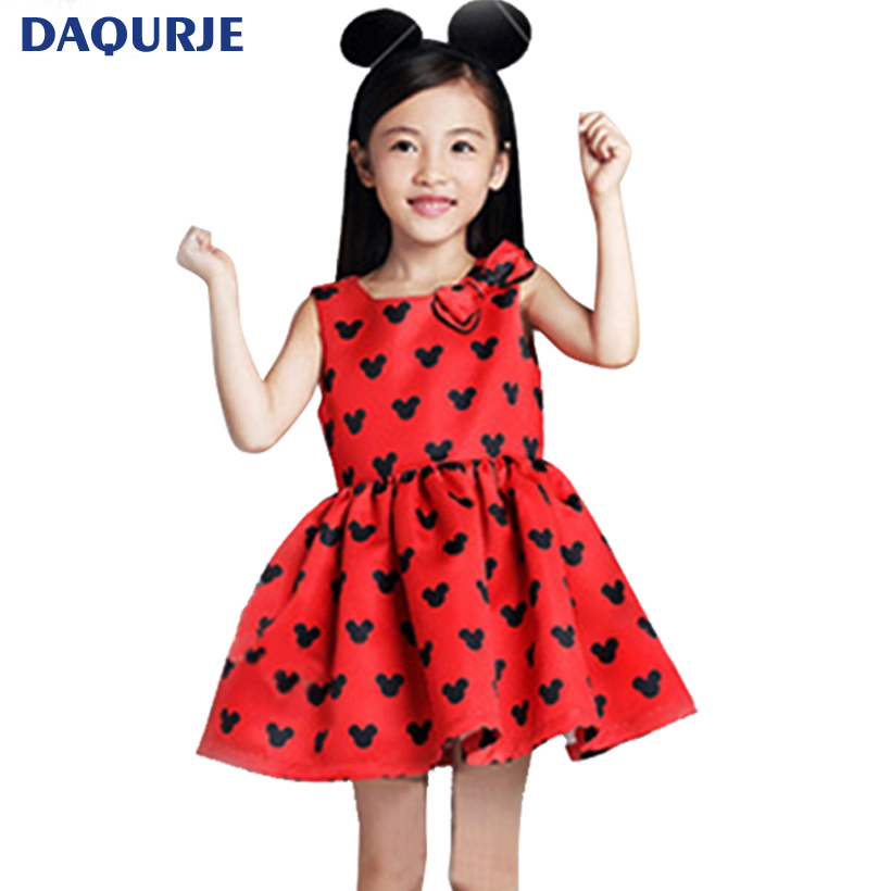 New girls clothes 2017 summer dress elsa Cute minnie sleeveless red girl dress bow kids clothes children clothing 2-7T costume