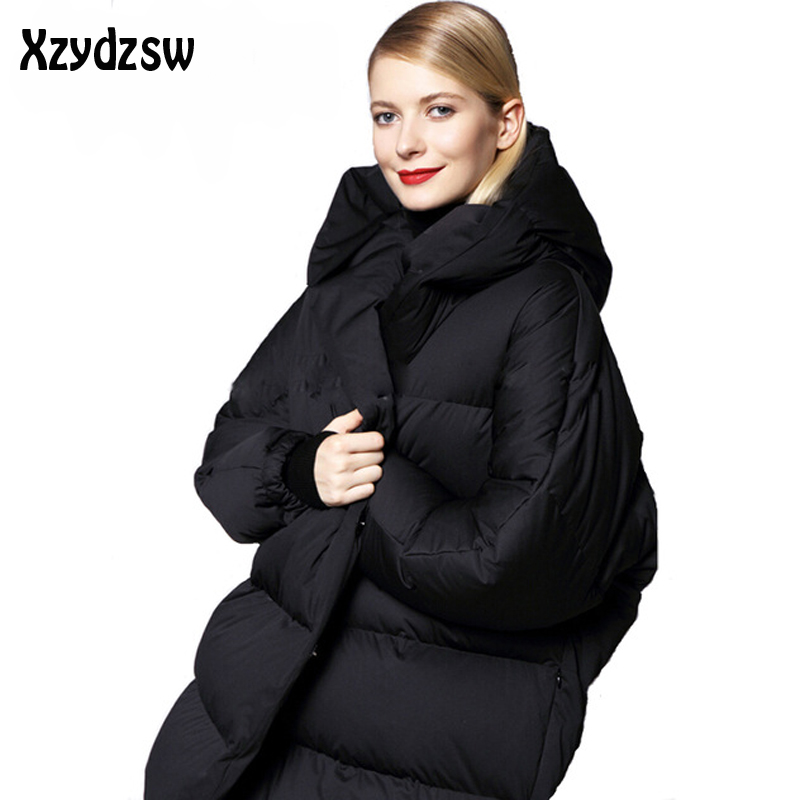 Winter Jacket Women Fashion White Duck Down Jackets Long Sleeve Loose Large Fur Collar Hooded Winter Coats Women Parkas Goode