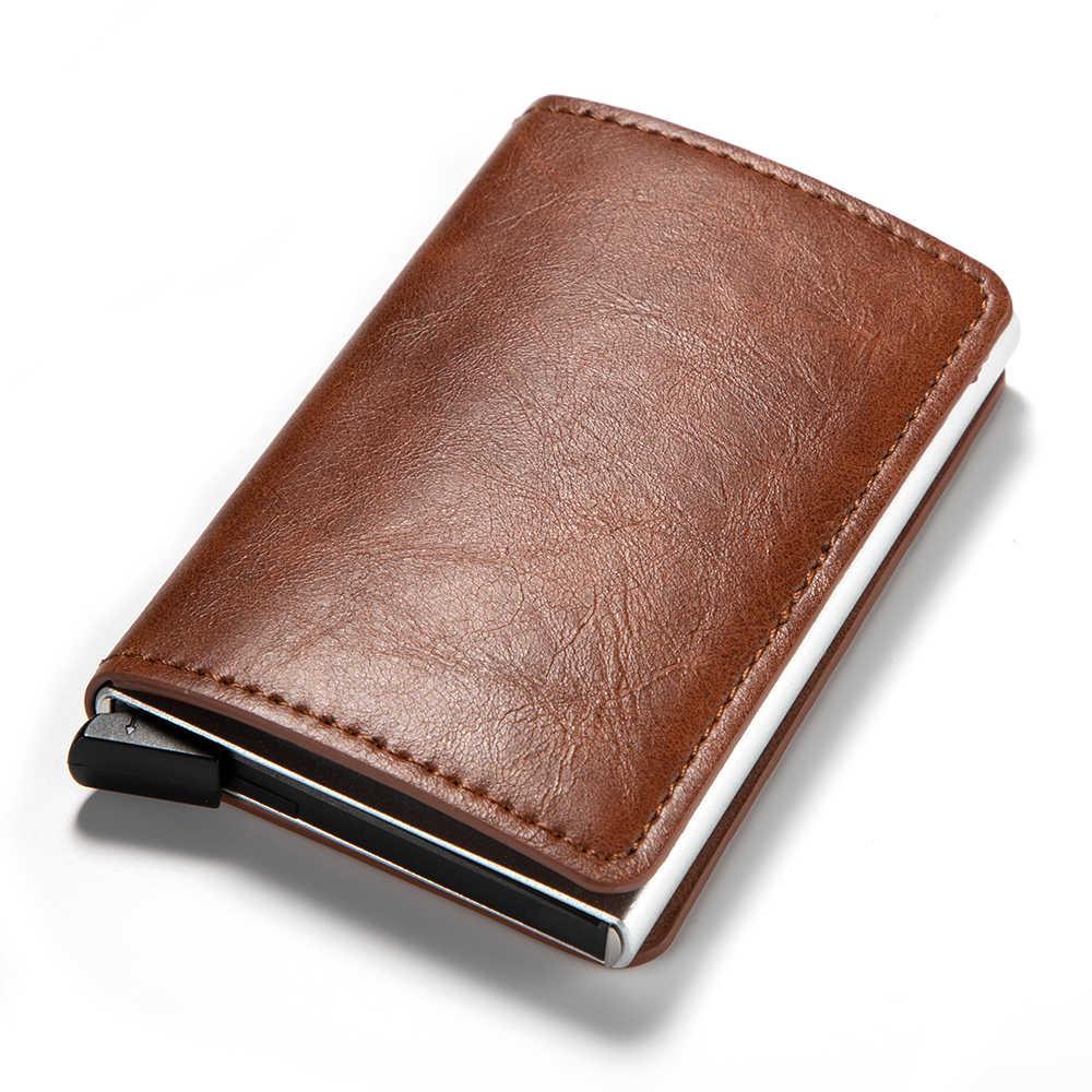 RFID ブロッキングファッション自動革クレジットカードホルダー男性アルミニウム金属ビジネス ID 多機能会員ミニ財布