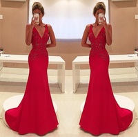 Sparkly Unique Red Two Straps V Neckline Sleeveless With Appliques Long Prom 2018 mother of the bride Dress