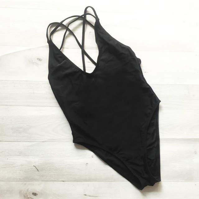 482bb39d099bc Solid One Piece Swimsuit Blank Sexy Swim Suit 2018 Swimwear Women High Cut  Bosysuit Bathing Suit