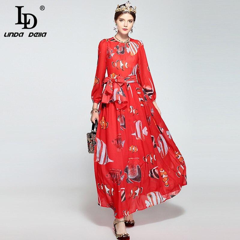 LD LINDA DELLA Runway Maxi Dress Women s Long Sleeve Casual Bohemian Party Holiday Elegant Red