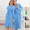 2016 Amantes Flanela Roupão de Banho Feminina 6 Cores Vestido de Noite Spa Roupão Unisex Mulheres Roupão de Banho Quimono de Manga Longa Das Mulheres vestidos