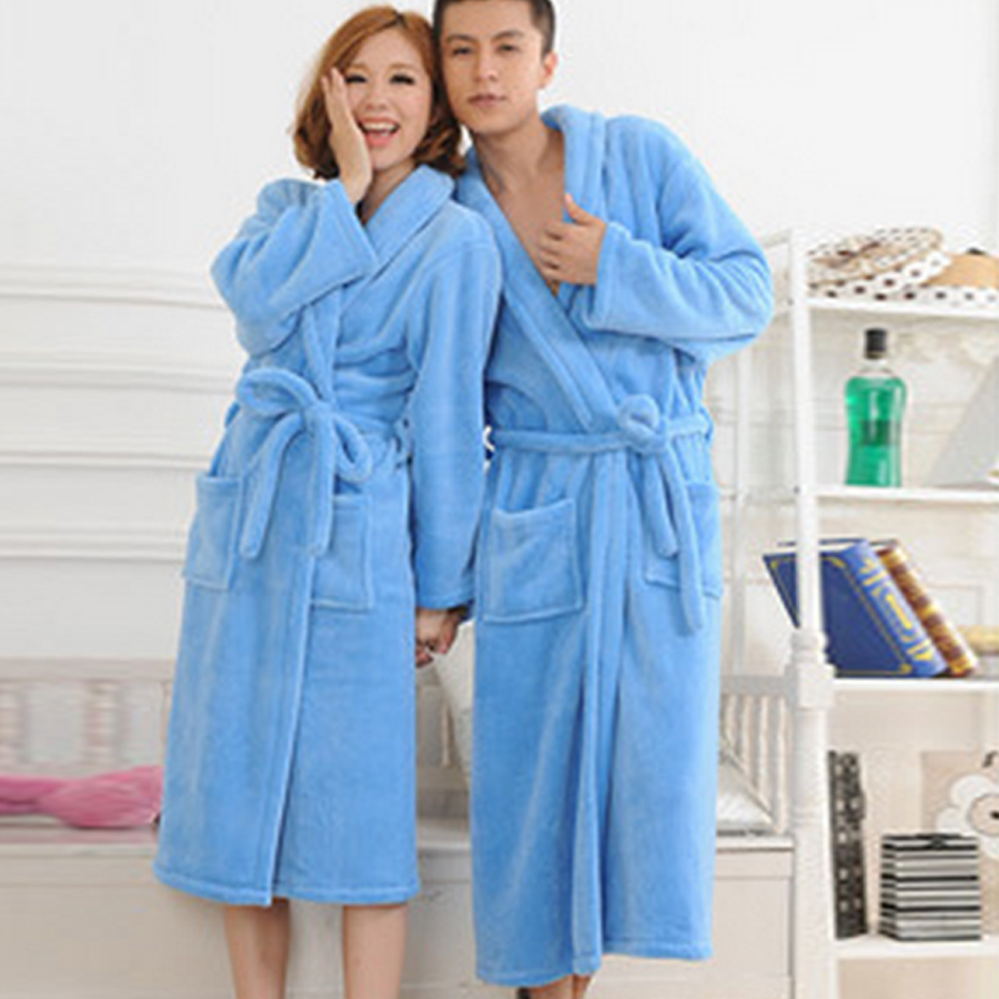 2016 Bath Robe Female Lovers Flannel 6 Colors Night Gown Spa Bathrobe Unisex Bath Robe Women Long Sleeve Kimono Womens Gowns