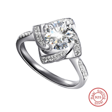 White Gold Plated Ring With Carat Simulated Diamond 925 Sterling Silver Luxury Wedding Ring for Women Wholesale (DW168)