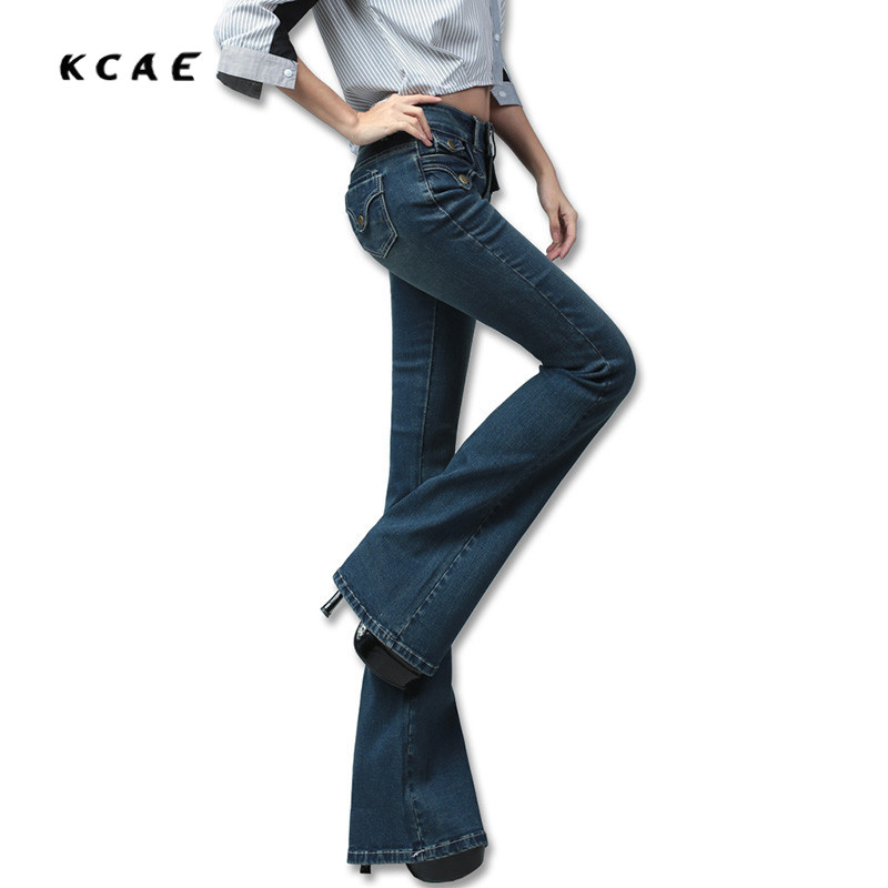2017 New Clothing Spring Bell-Bottom Jeans Female Lengthen Boot Cut Mid Waist Big Horn Denim Trousers  2017 new plus size clothing spring bell bottom jeans female lengthen boot cut mid waist big horn denim trousers
