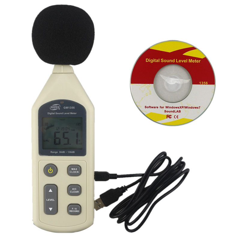 GM1356 Digital LCD Sound Level Meter Voice Noise Tester 30~130dBA 35~130dBC Analyze Sound PWM AC DC Output with USB analyze