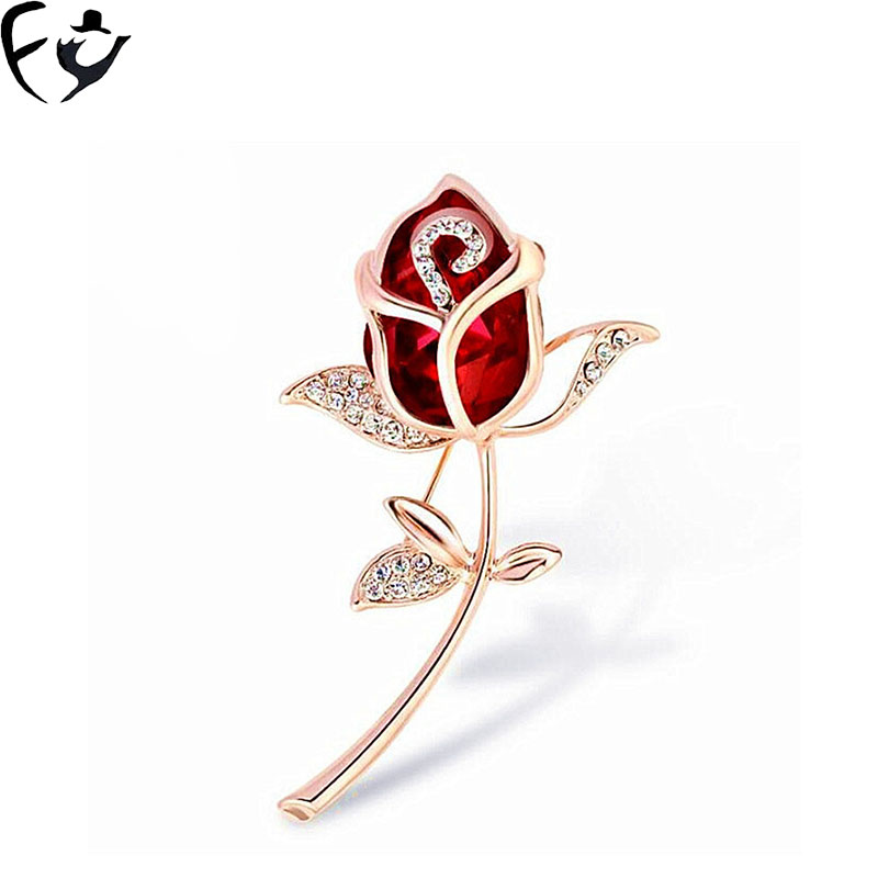 FY Popular women's clothing accessories rose brooch stylish glass crystal tulip brooch