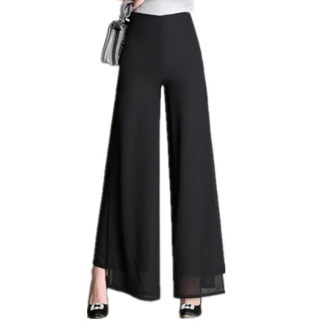 4e74bde681e3f Clobee Plus Size High Waist Chiffon Wide Leg Pants Sexy Loose Casual  Bohemian Trousers 2017 Women Summer Flare Pants X233