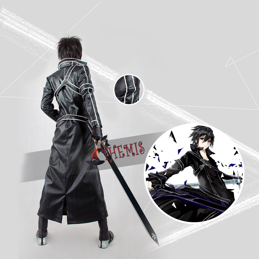 Athemis Sword Art Online Kirito leather Cosplay Costume high quality any size outfit custom made