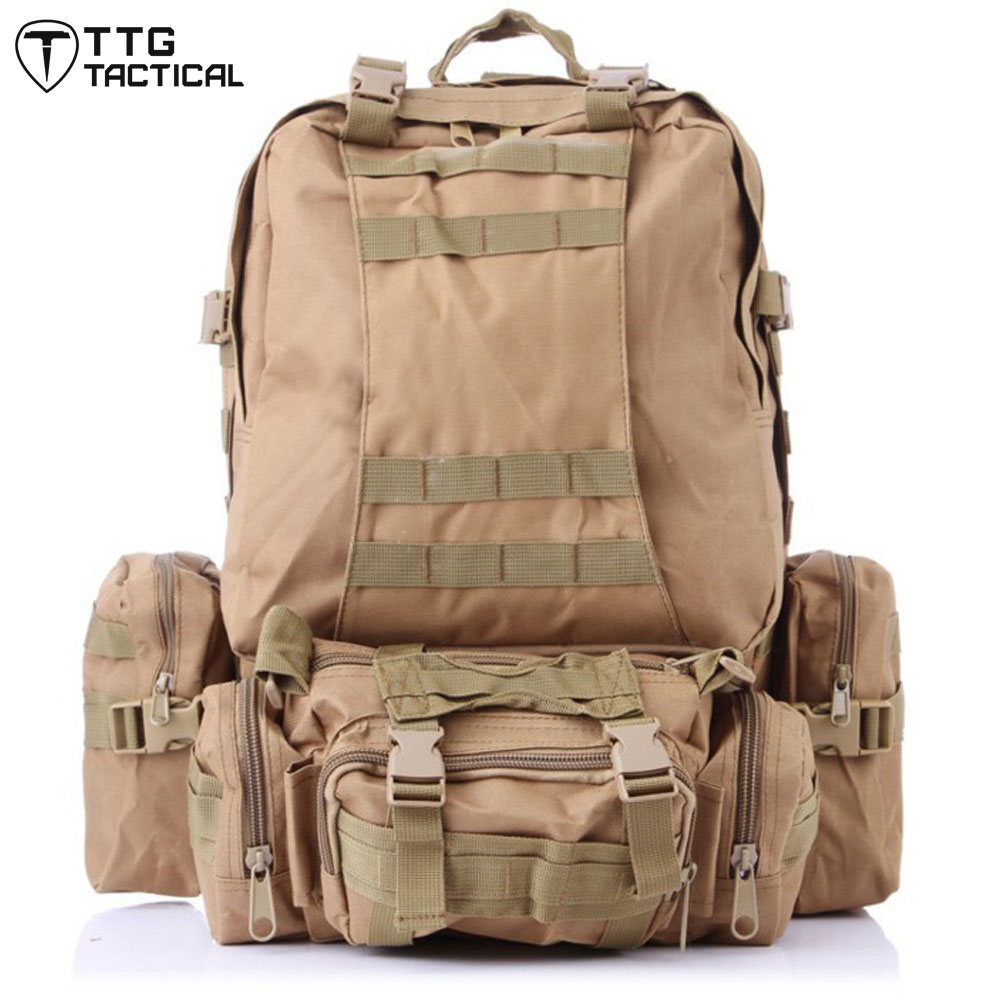 3D MOLLE Combined Assault Backpack Large Capacity Camouflage Paintball Rucksack Multiuse Travel Military Backpack baigio men backpack military molle assault backpack 3 way modular attachments 50l waterproof bag rucksack male travel bags