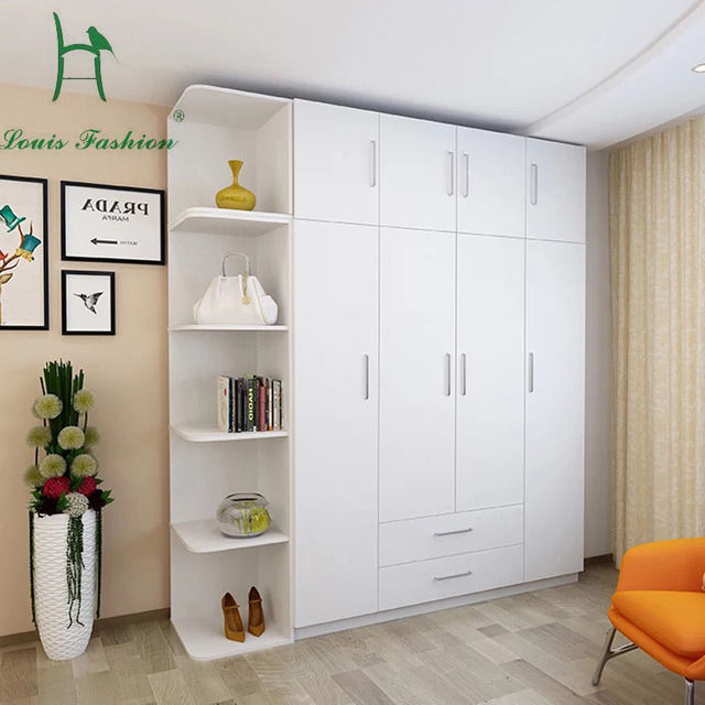 Louis Fashion Simple Modern Economy Bedroom Wooden Four White Wardrobe