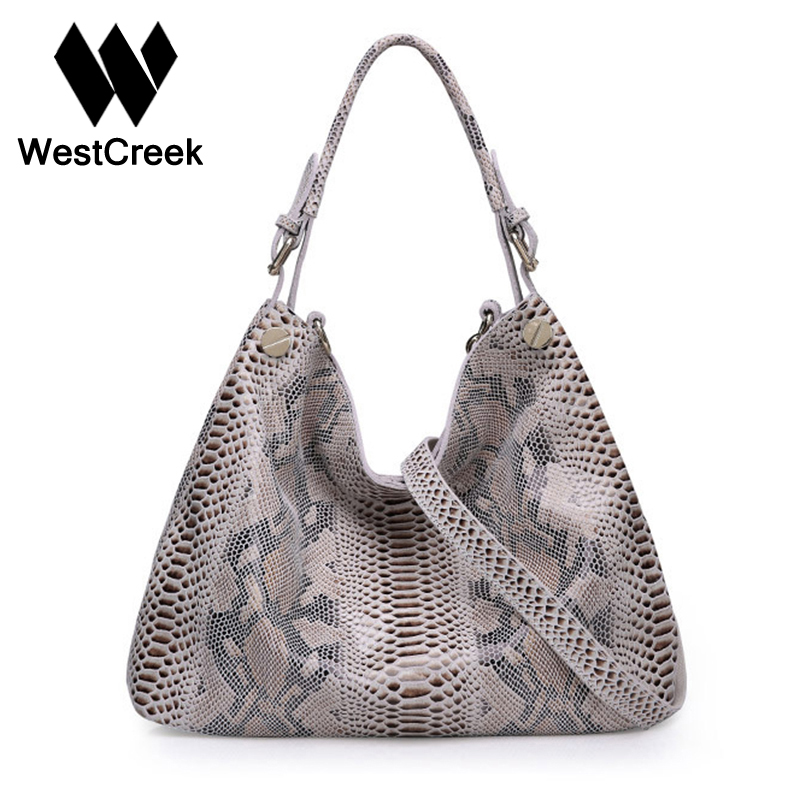 Westcreek Brand Women Genuine Leather Handbags Female Classic Serpentine Prints