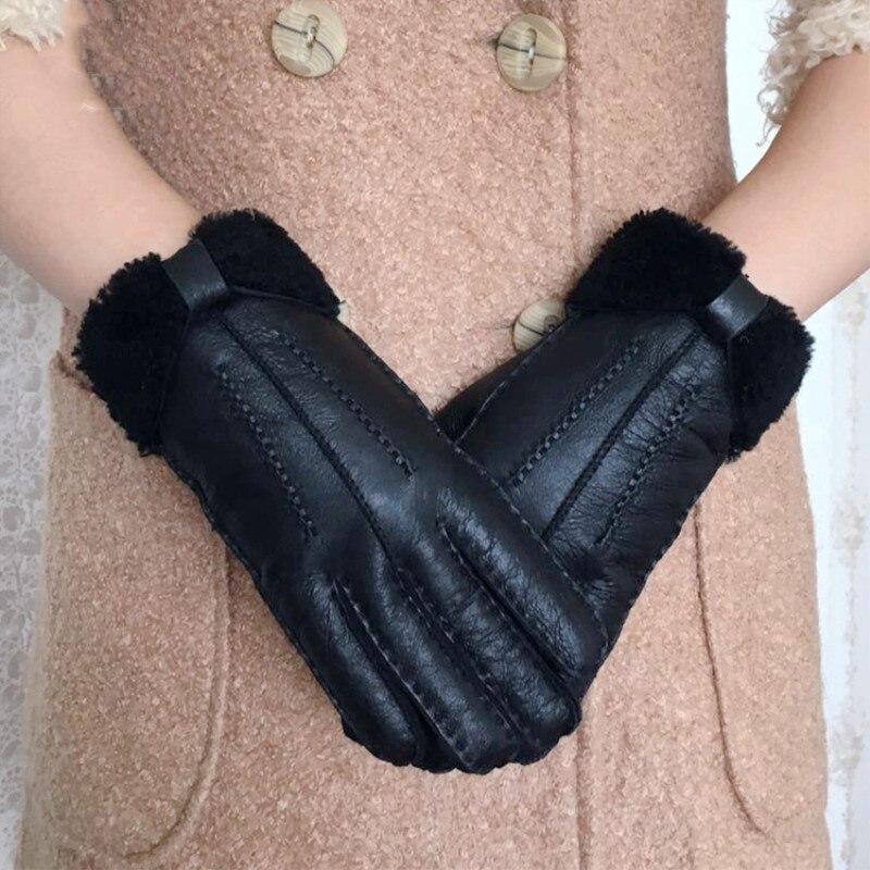 Winter Gloves Women New Designer Heavy Type Real Leather Wool Fur Gloves 2018 Girls Sheepskin Leather Very Warm Winter Mittens