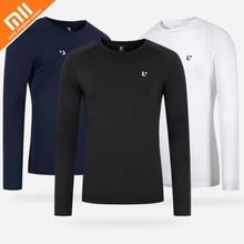 Original xiaomi mijia Uleemark esportes T-shirt longo-sleeved O-neck magro tendência casual dos homens longo-sleeved T-shirt