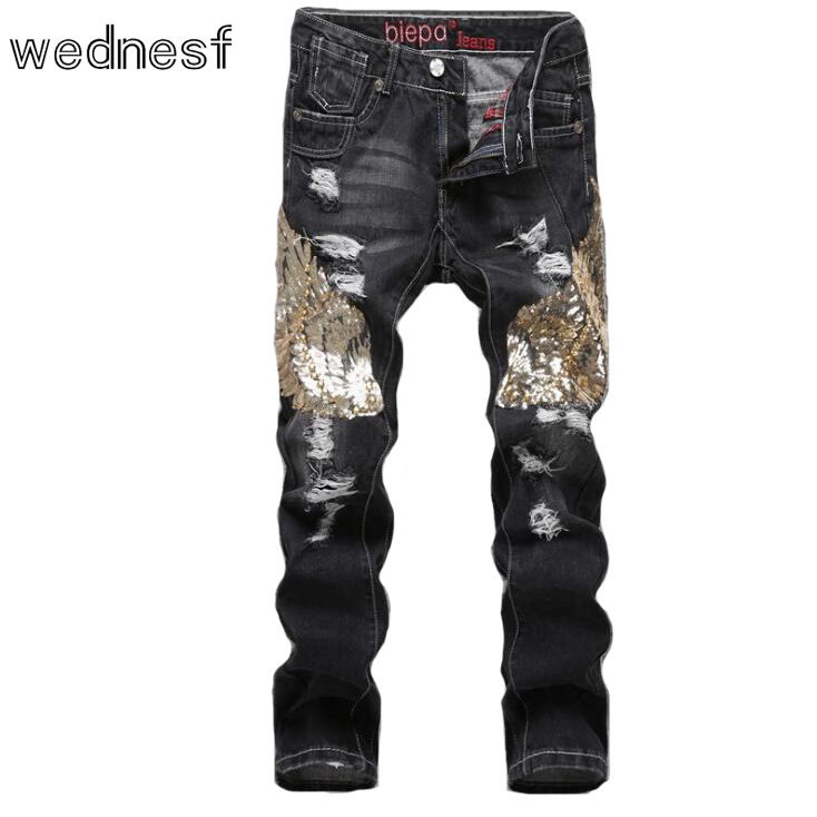 #1918 Skinny jeans black ripped jeans men Sequined Fashion Straight Jogger jeans Distressed Slim fit jeans homme Brand-clothing
