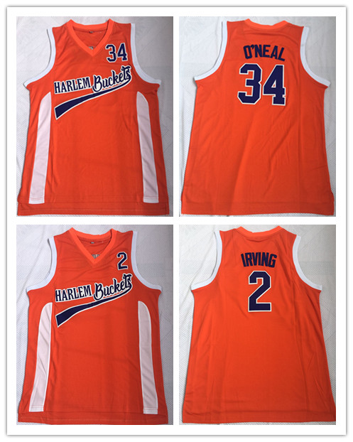 new arrival 1e4ee 1518c Mens Cheap Movie Uncle Drew Basketball Jerseys 2 Kyrie Irving 34 Shaquille  O'Neal Harlem Buckets Orange Stitched Jersey-in Basketball Jerseys from ...
