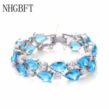 NHGBFT 18 CM longueur or Rose/or blanc couleur Mona Lisa cubique Zircon Bracelets Bracelets pour femmes multicolore CZ Bracelet de mariage
