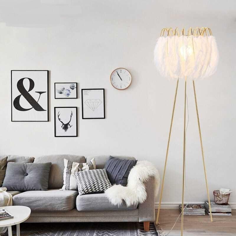 White Feather Floor Lamp Nordic Modern Living Room Bedroom Warm