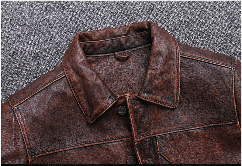 HTB1tpoDPhYaK1RjSZFnq6y80pXaq 2019 Vintage Brown Men Smart Casual Leather Jacket Single Breasted Plus Size XXXL Genuine Cowhide Russian Coat FREE SHIPPING