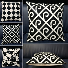 Home Decorative Embroidered Cushion Cover Black White Canvas Cotton Square Embroidery Pillow Cover 45x45cm For Sofa Living Room home decorative embroidered cushion cover black white canvas cotton square embroidery pillow cover 45x45cm for sofa living room