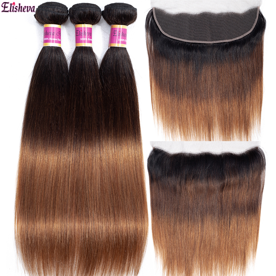 Elisheva 1b 4 30 Peruvian Straight Hair Ombre Bundles With Frontal Pre Plucked Remy 100 Human