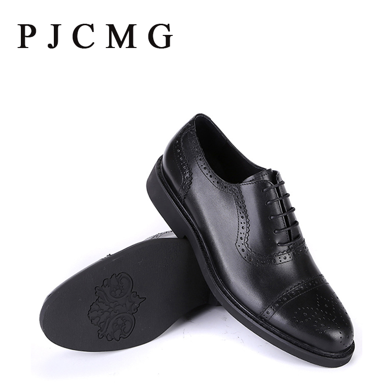 ФОТО PJCMG New Spring/Autumn Handmade Luxury Black/Red Carved Lace-Up Pointed Toe Genuine Leather Flat Man Dress Shoes