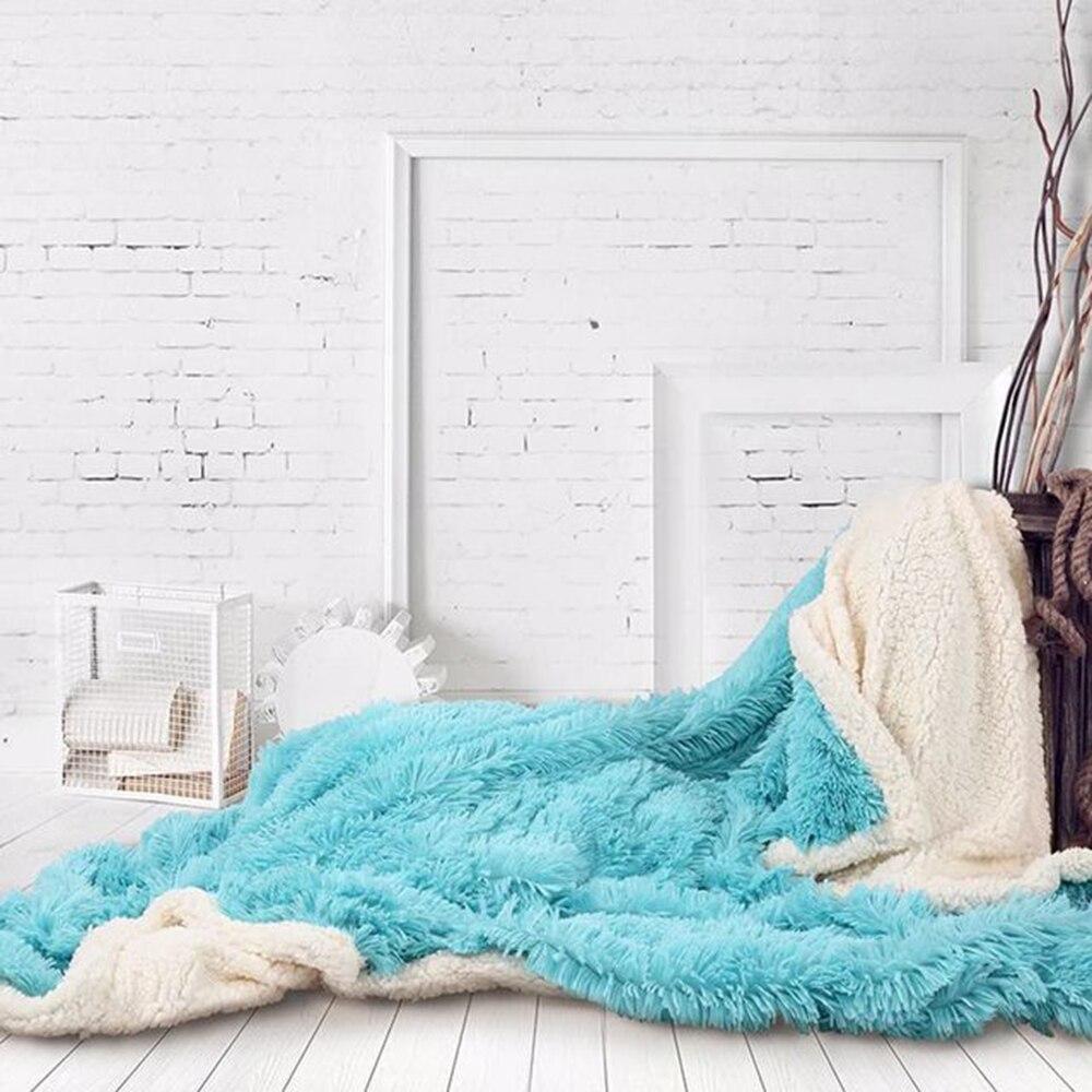 Двухслойное супер мягкое одеяло для теплого сна для пледы одеяло отель искусственное меховое одеяло диван зима - Цвет: blue