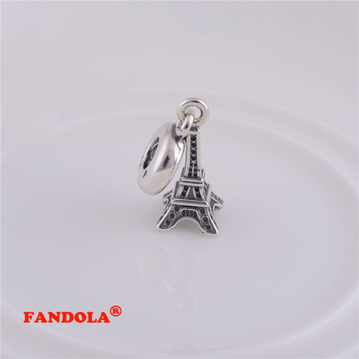 Authentic 925 Sterling Silver Eiffel Tower Dangle Screw Hole Charm Beads DIY Jewelry Fits Pandora Charms Bracelet LW086